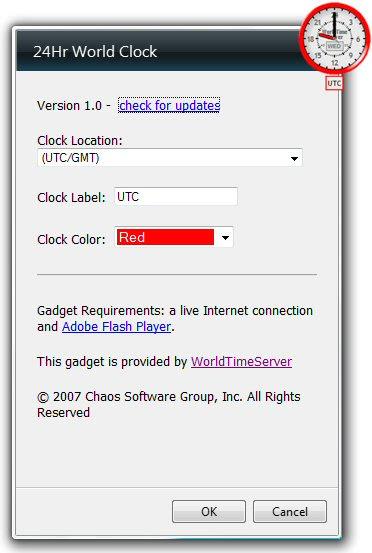 Windows 7 Desktop Clock: free 24Hr World Clock Gadget