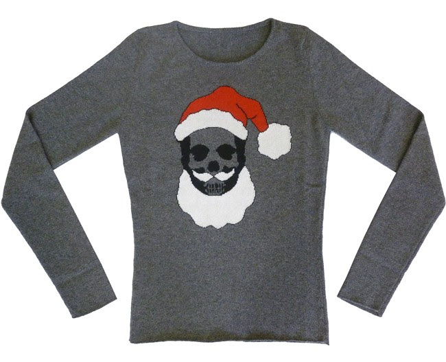 pere noel femme special Christmas cashmere sweater with Santa Klaus skull