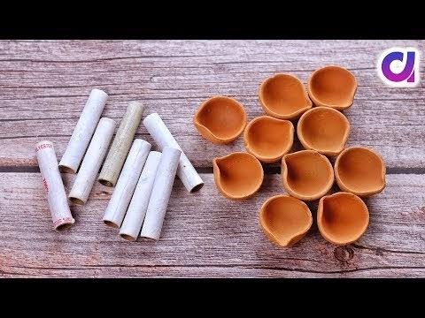 Best out of waste Diya & Thread Spools Craft idea | DIY Room Decor | Artkala
