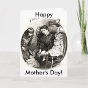 Vintage Mother and Children card