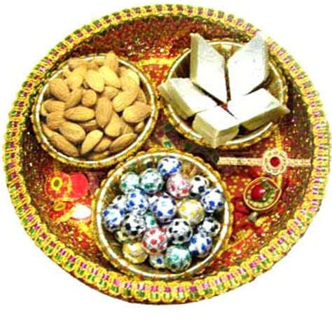 Big Rakhi Combo Delivery contains Thali, Sweets, Flowers