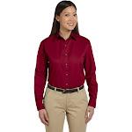 Devon & Jones Ladies' Long-Sleeve Titan Twill - D500w - Crimson