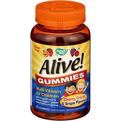Nature's Way Alive! Gummies Multi-Vitamin for Children, Natural Cherry/Grape/Orange - 90 count