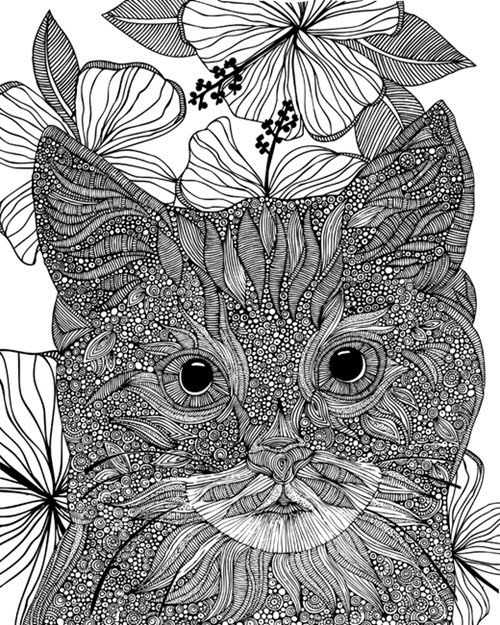 Cat Image to Color on Canvas Contemporary line art of a cat portrait ornately patterned against a background of flowers.