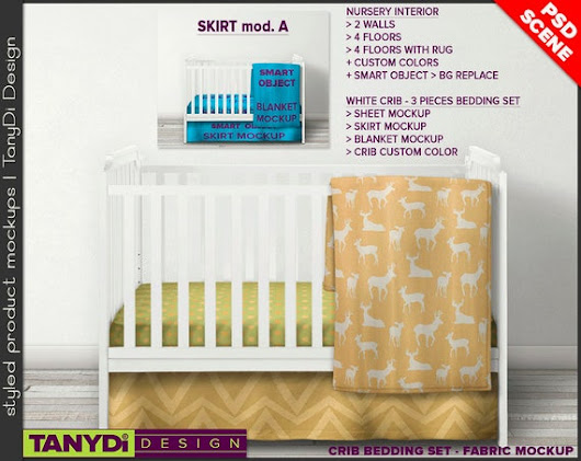 Crib Bedding Photoshop Styled Fabric Mockup by TanyDiArtDesign