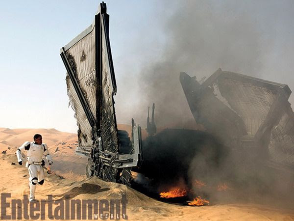 Finn emerges from a TIE Fighter that he crash-landed on the planet Jakku in this production still for STAR WARS: THE FORCE AWAKENS.