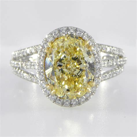 Incredible GIA Canary Yellow Diamond engagement ring Pave