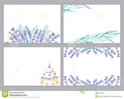 Watercolor Lavender Card Templates Stock Illustration