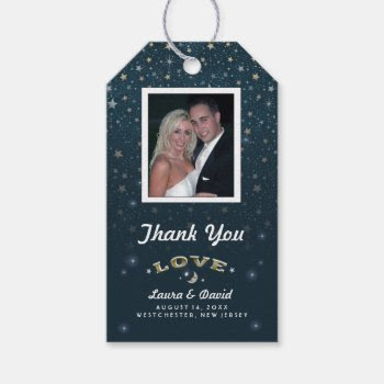 Teal White Moon & Stars Love Wedding Custom Photo Pack Of Gift Tags by juliea2010 at Zazzle