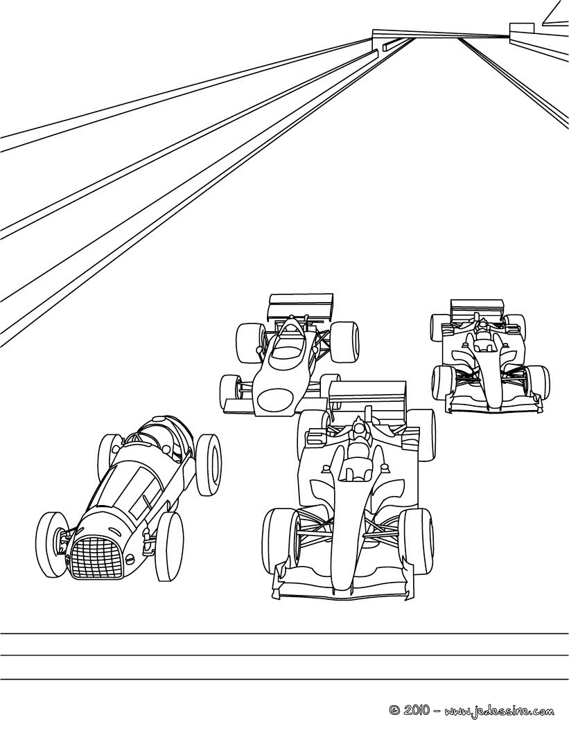 Coloriage 4 voitures de course au départ