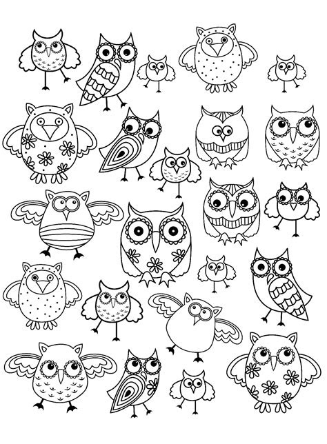 doodle owls  animals coloring pages  adults