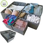 Evelots Foldable Cloth Drawer Storage Box-Closet-Dresser-Divider-Organizer S/12
