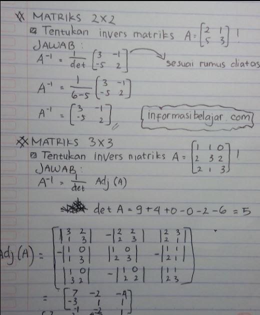 Contoh Soal Invers Matriks 2x2 Dan Pembahasannya Download File Guru