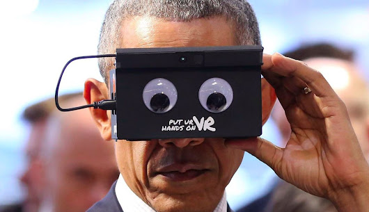 Obama trying VR headset with googly eyes proves he can make anything look cool