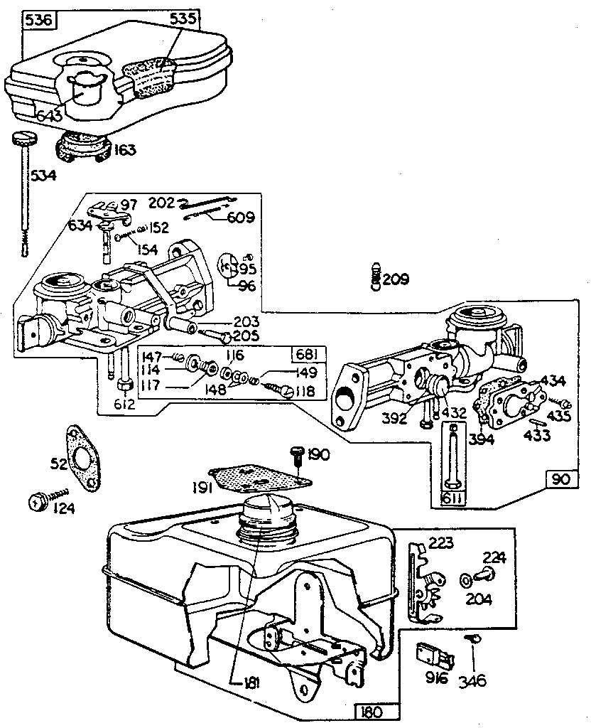 CARBURETOR AND FUEL TANK ASSEMBLY Diagram & Parts List for ...