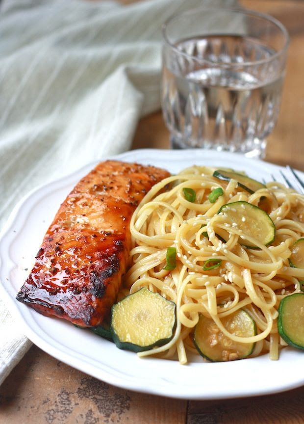 Zucchini Pasta with Teriyaki Salmon by SeasonWithSpice.com
