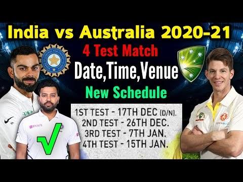 India vs Australia Test Series 2020-21 | Full Schedule, 4 Test Schedule Announced | Date, Time