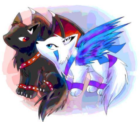 cute anime wolves  wings publicado por dark wizard