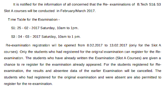 KTU B.Tech S1-S3 Re-examination 2017