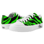 Neon Green Zebra Striped Printed Shoes