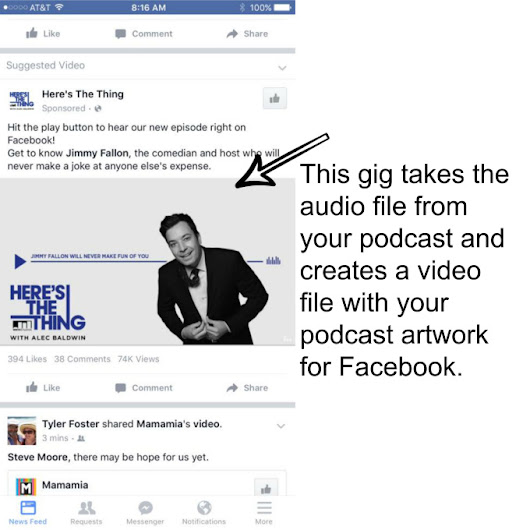 I will convert your audio podcast to a Facebook video file