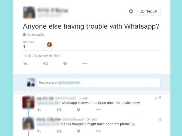 Usuária da Escócia reclama sobre instabilidade do WhatsApp no Twitter (Foto: Reprodução/Twitter)