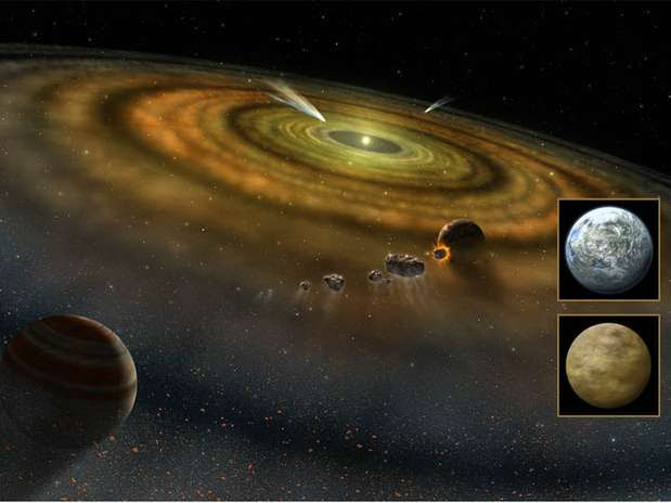 Projeção artística feita pela Nasa mostra cometas fora do Sistema Solar Foto: BBC Brasil