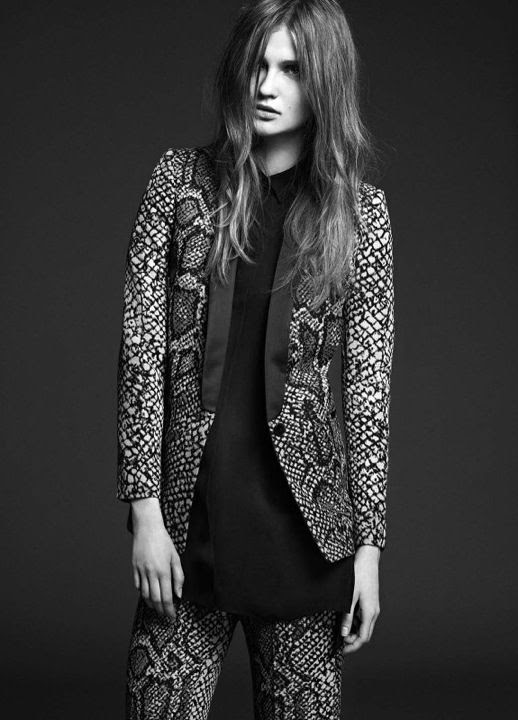 LE FASHION IMAGE SANDRO FW 2012 CAMPAIGN LOOKBOOK PYTHON SNAKE SKIN PRINT TUXEDO JACKET PANTS TROUSERS BLACK TUNIC BUTTON UP COLLARED SHIRT MESSY LONG WAVY HAIR NATURAL BEAUTY CLEAN CLASSIC 6