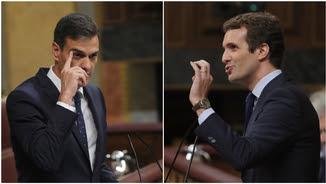 Pedro Sánchez i Pablo Casado han viscut un agre enfrontament durant el debat en el Congrés dels Diputats (EFE)