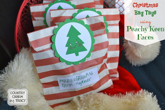 {Christmas Bag Tags} using Peachy Keen Faces