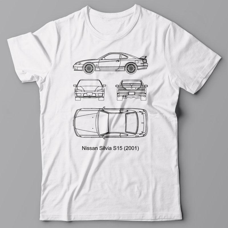 T Shirt Men T Shirt Men Short Sleeve Cool T-Shirt Blueprint - Japan Car Silvia S15, Technical Tee Shirt, Jdmcheap T Shirt Design