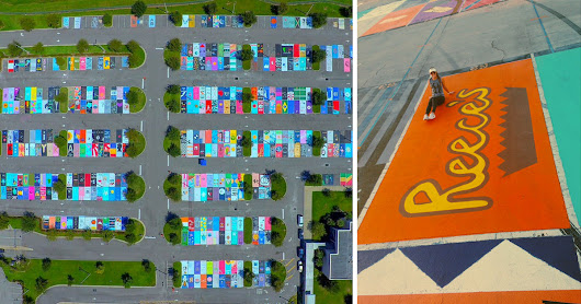 Seniors at this high school have an awesome tradition - they paint their parking spots