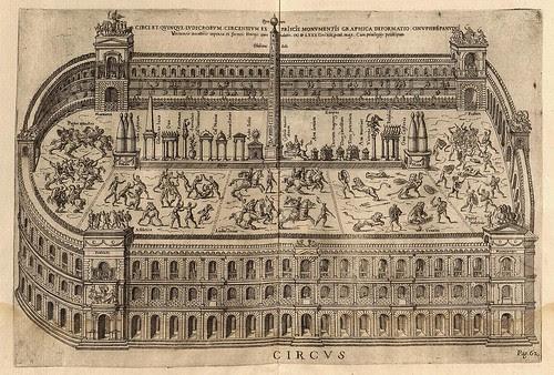 Gladiators fighting in roman circus