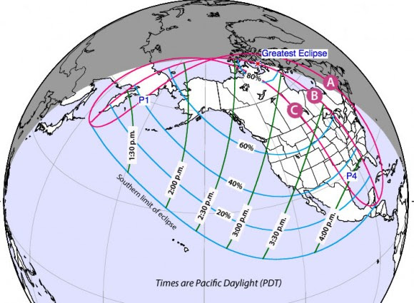 Map showing times and percentage of the sun covered during Thursday's partial solar eclipse. Times are Pacific Daylight - add 1 hour for MDT, 2 hours for CDT and 3 hours for EDT. Credit: NASA, F. Espenak with additions by the author