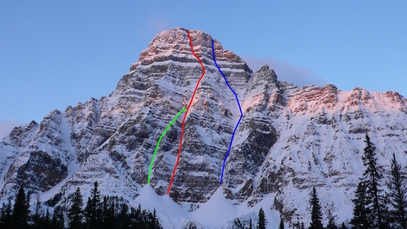 The northeast face of Mt. Chephren, showing The Wild Thing with the direct start (red) and the original start (green; Arbic-Blanchard-Robinson, 1987), and The Dogleg Couloir (blue; Darbellay-Slawinski, 2008). Pierre Darbellay