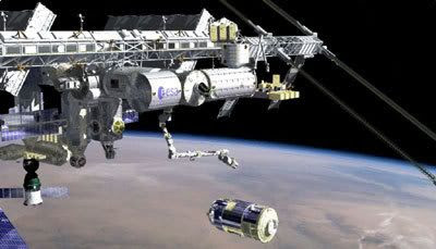 An art concept showing Japan's H-II Transfer Vehicle about to be attached to the International Space Station, via Canadarm 2.