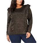 Michael Kors Womens Lurex Ruffle Pullover Sweater, Metallic, 0X