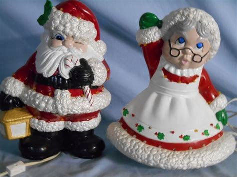 Vintage LARGE Mr & Mrs Santa Claus Ceramic Figurines