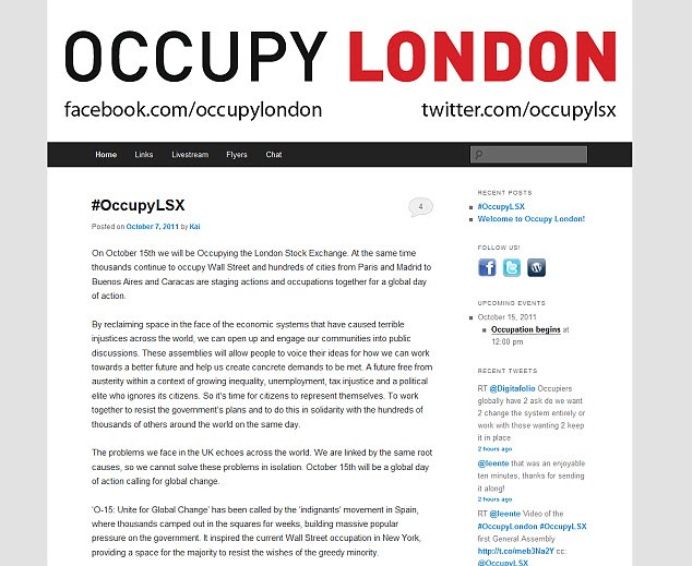 Inspired: Occupy London has said it is taking its lead from the occupation movements across the world, including that in New York