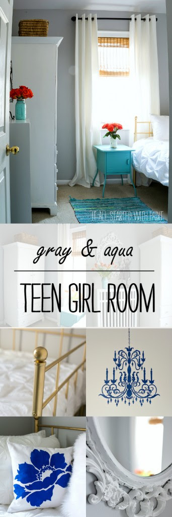 Teen Girl Bedroom In Gray And Aqua