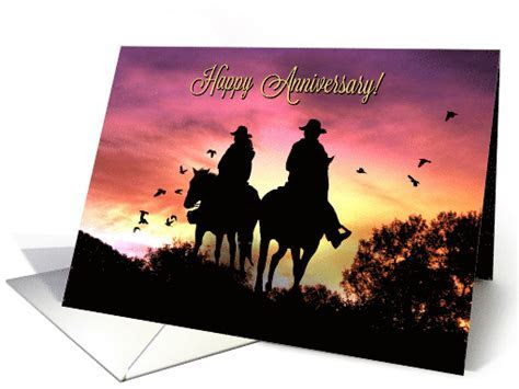 Country Western Rustic Happy Anniversary with Cowgirl and