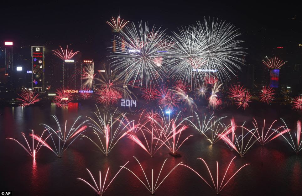 Three hours after midnight struck in Sydney, Hong Kong celebrated the start of 2014 with its very own fireworks display