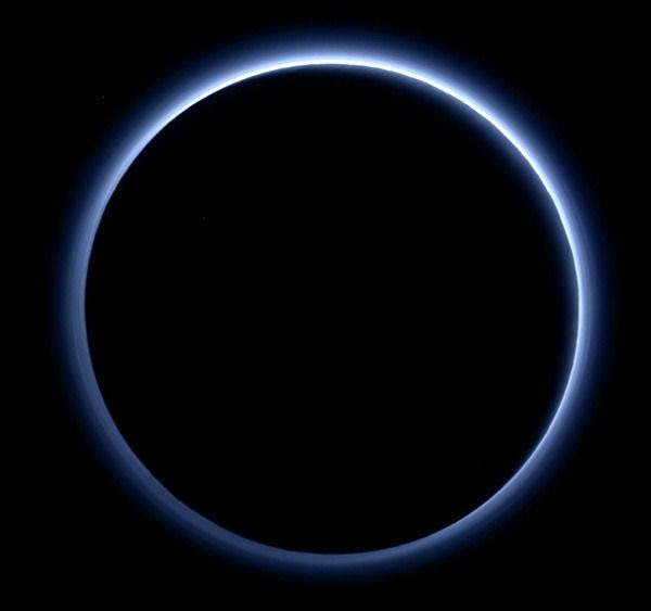 Pluto's haze layer shows its blue color in this picture taken by the New Horizons Ralph/Multispectral Visible Imaging Camera...on July 14, 2015.