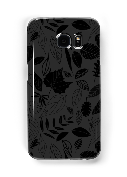 'Black leaves' Samsung Galaxy Case/Skin by CraftCartwright