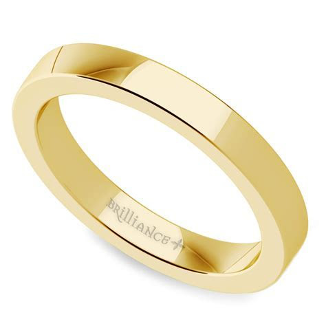 Flat Men's Wedding Ring in Yellow Gold (3mm)
