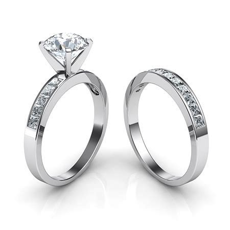 Channel Set Diamond Engagement Ring and Wedding Band