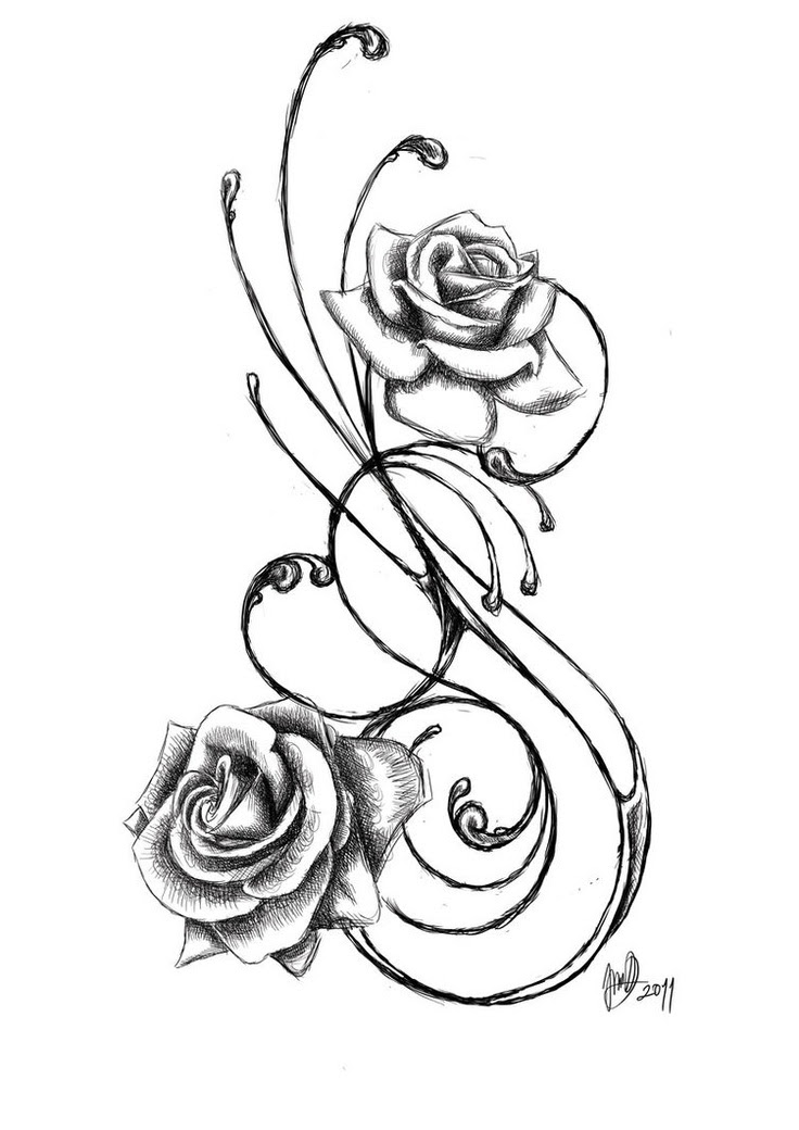 Rose Flower Tattoo Sketches Flowers Healthy