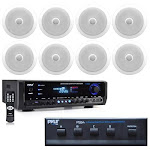 Pyle PT390BTU Digital Home Theater Bluetooth Stereo Receiver with (8) PDIC80 8-Inch