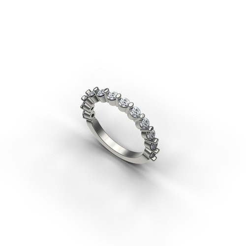 Single Shared Prong Diamond Wedding Band exclusively from The Barsky Collection