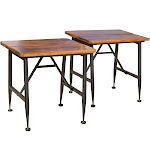 Christopher Knight Home Ocala Set of 2 Acacia Industrial Side Table Antique Black Chri